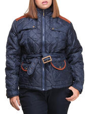 Basic Essentials - Cindy Quilted Heavyweight Puffer Jacket w/arm patches