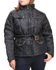 Basic Essentials - Cindy Quilted Heavyweight Puffer Jacket w/arm patches (plus)