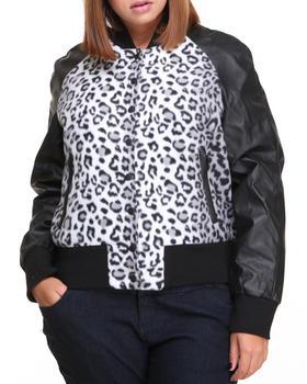 Basic Essentials - Cheetah Print Vegan Leather Bomber (plus)