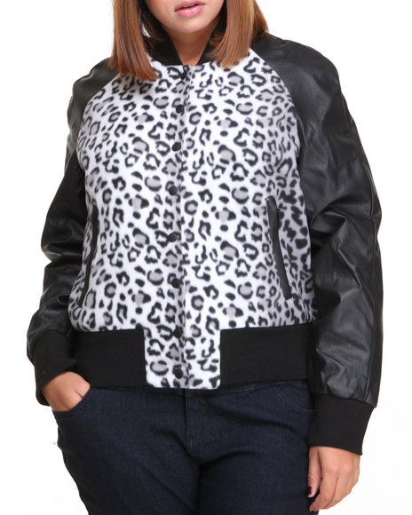 Basic Essentials - Women Grey Cheetah Print Vegan Leather Bomber (Plus)