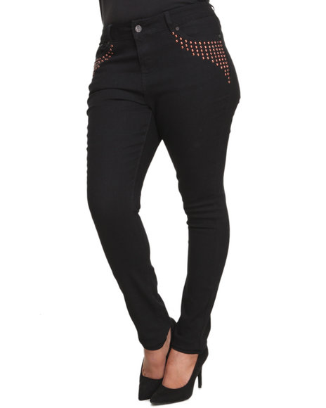 Coogi - Women Black Coogi High Waisted Skinny Jeans (Plus) - $27.99