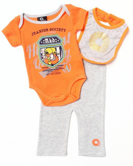 Akademiks - Boys Orange 3 Pc Set - Bodysuit, Pants, & Bib (Newborn)