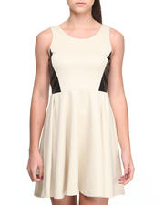 Fashion Lab - Raven Skater Dress w/v-neck mesh detail