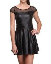Fashion Lab - Stacy Vegan Leather Skater Dress w/mesh detail