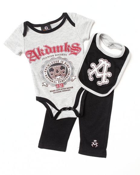 Akademiks - Boys Black 3 Pc Set - Bodysuit, Pants, & Bib (Newborn)
