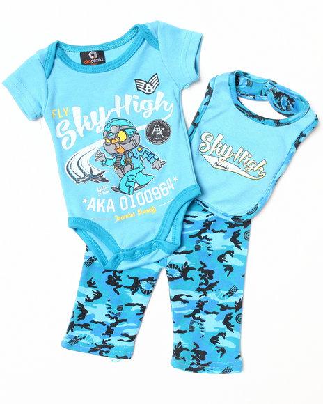 Akademiks - Boys Blue, Camo 3 Pc Set - Bodysuit, Pants, & Bib (Newborn)