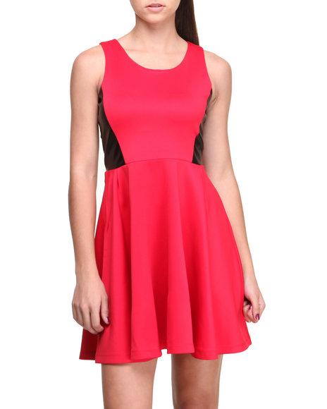 Fashion Lab Red Tango Vegan Leather Insert Sleeveless Skater Dress