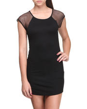 Women - Marline Sporty Raglan Fishnet Sleeves Dress