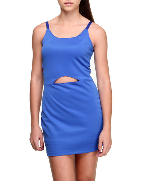 Fashion Lab - Women Blue Marly Body Con Dress W/Peek A Boo Waist Detail