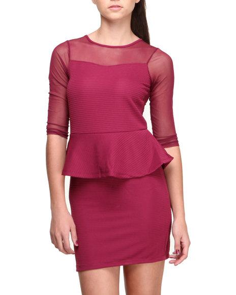Fashion Lab - Women Maroon,Red The Lady Peplum Dress W/Mesh Detail