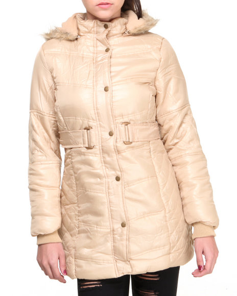 Basic Essentials - Women Cream,Tan Cire Bubble Coat W/Faux Fur Hood Trim Quilted Detail Belt