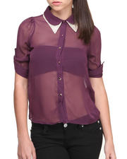 Fashion Lab - Claudette Peter Pan Collar Studded Chiffon Buttondown Shirt