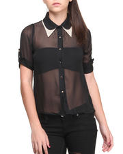 Fashion Lab - Claudette Peter Pan Collar Studded Chiffon Button-down Shirt