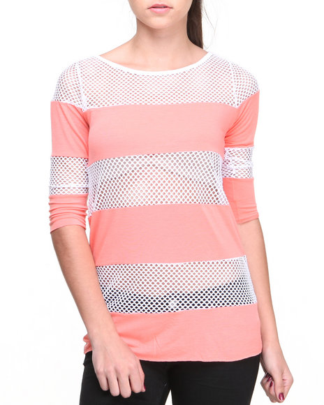 Fashion Lab - Dara Rugby Mesh Stripe Pullover