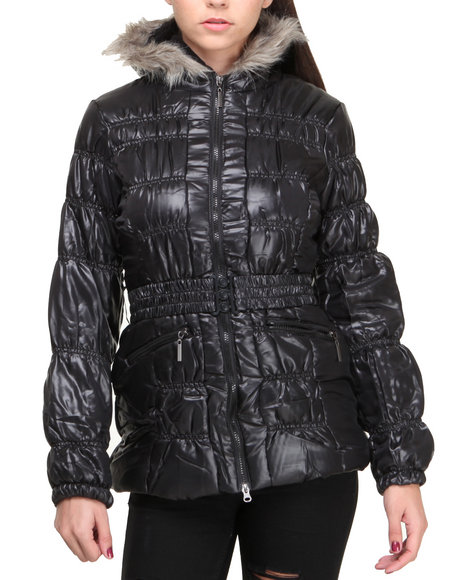 Basic Essentials - Women Black Holly Ruched Detail Cire Bubble Coat