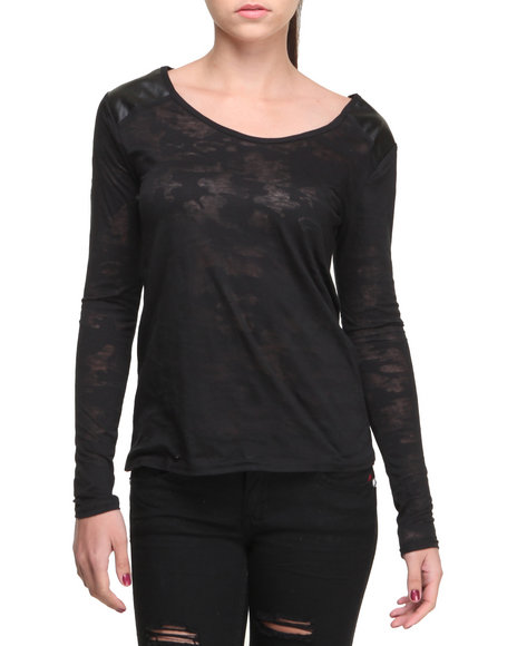 Fashion Lab - Women Black Jane Burnout Camo Long Sleeve Tee
