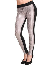 ROMEO & JULIET COUTURE - Liquid Metal Front Solid Back Legging