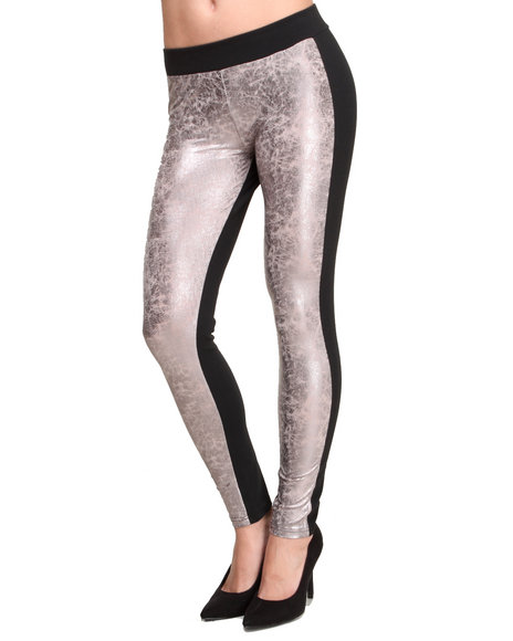 ROMEO & JULIET COUTURE Black,Rose Gold Liquid Metal Front Solid Back Legging