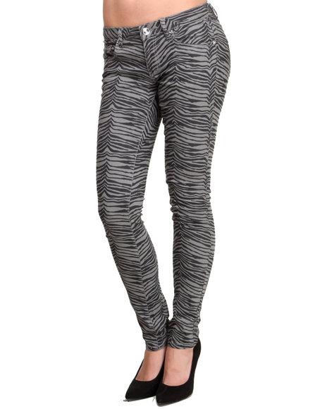 Basic Essentials Animal Print,Grey Smokey Skinny Jeans