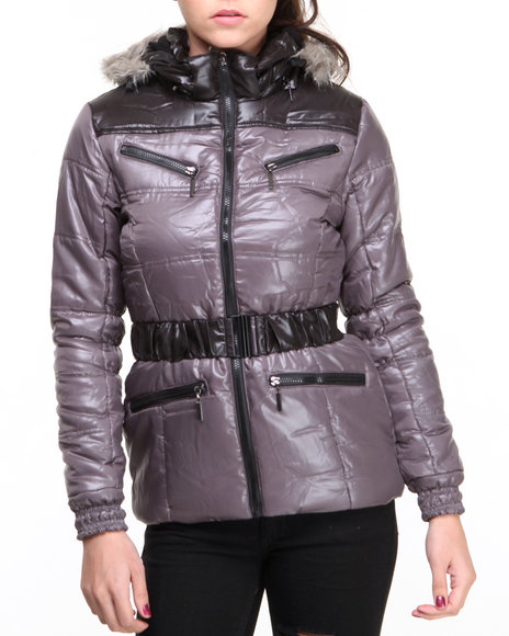 Basic Essentials - Women Grey Adventure Bubble Coat W/Hood