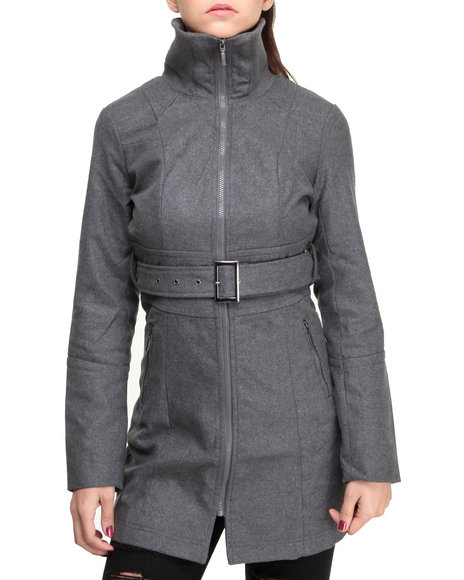 Basic Essentials - Women Grey Deb Wool Coat W/Zipper