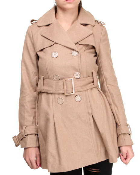 Basic Essentials - Women Tan Mindy Wool Coat W/Pleated Skirt Detail And Belt - $32.99