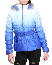 Outerwear - Ombre Dip Dye Bubble Coat w/faux fur trim