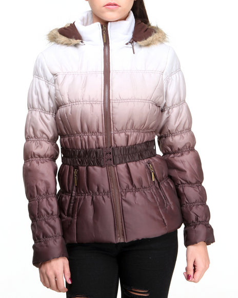 Basic Essentials - Women Brown Ombre Dip Dye Bubble Coat W/Faux Fur Trim