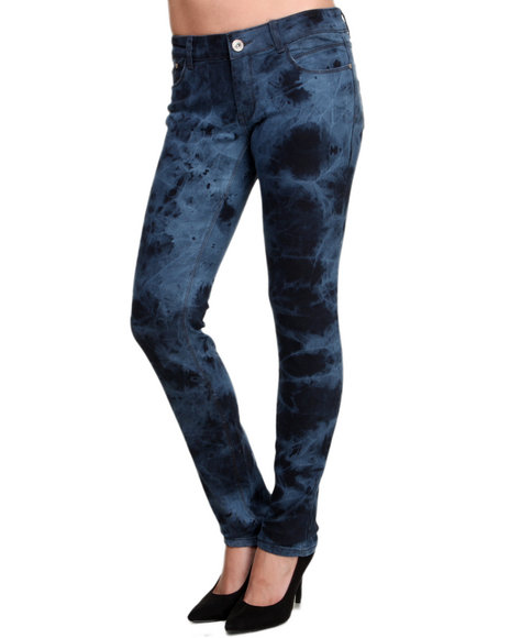 Basic Essentials - Women Black Marky Tie Dye Skinny Jeans