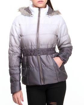 Basic Essentials - Ombre Dip Dye Bubble Coat w/faux fur trim