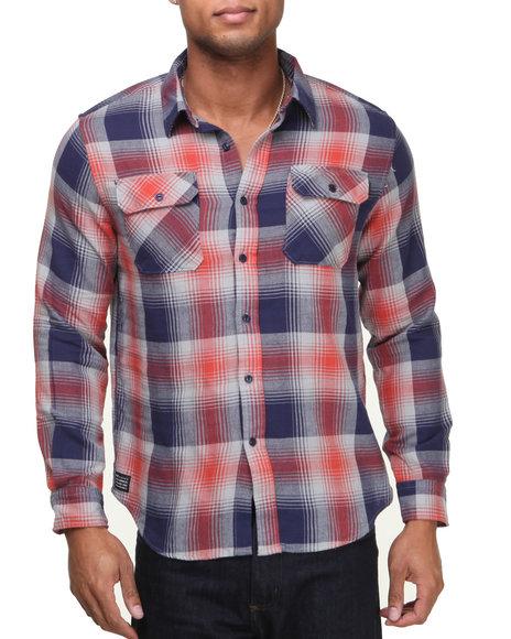 Huf - Men Navy,Orange Shadow Plaid Flannel L/S Button-Down