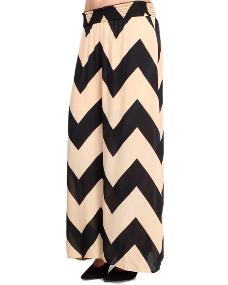 ROMEO & JULIET COUTURE Black,White Chevron Print Chiffon Soft Pant