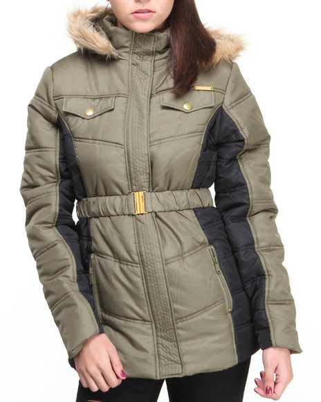 Apple Bottoms - Women Olive Colorblock Hooded Puffer Coat - $40.99