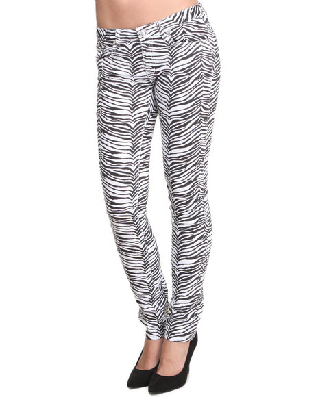 Basic Essentials - Women Animal Print,White The Milk Cookie Skinny Jeans