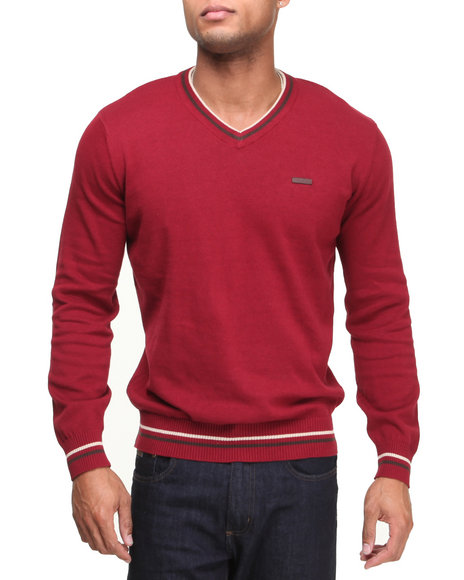 - Red Solid V-Neck Sweater