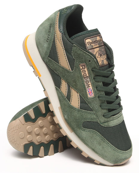 Reebok Olive Cl Leather Utility Sneakers