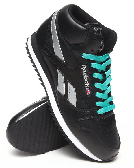 Reebok Black Cl Leather Mid Ripple Sneakers