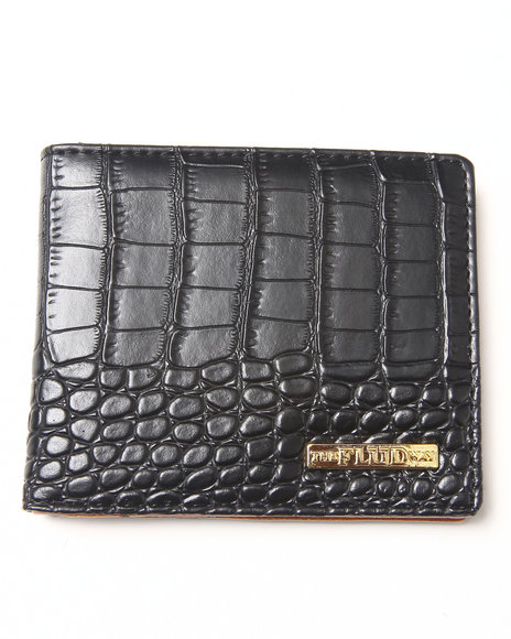 Flud Watches Croco Faux Leather Wallet Black