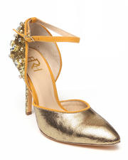 Fashion Lab - Carrie Metallic Ankle Strap Pump w/ Crystals