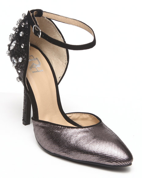 Fashion Lab - Women Black Carrie Metallic Ankle Strap Pump W/ Crystals