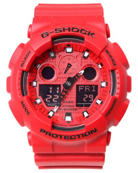 G-Shock By Casio Men Ga-100 Neon Highlights Watch Red 1SZ