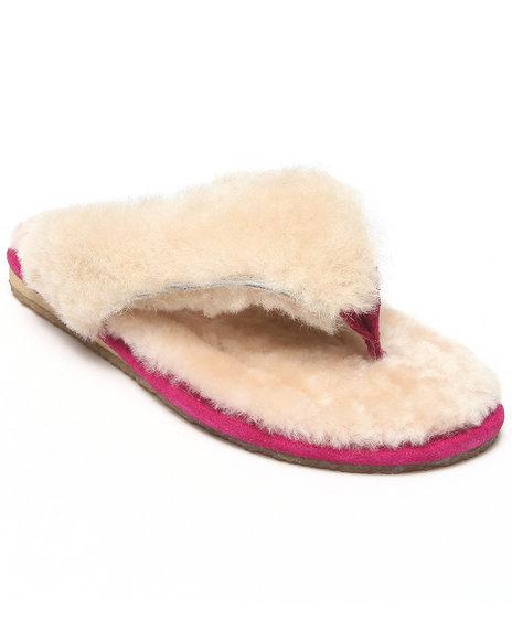 Bearpaw - Women Pink Lilac Luxurios Sheepskin Thong Slipper