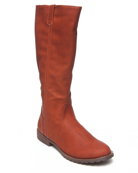 Fashion Lab - Women Tan Britney Vegan Leather Riding Boots