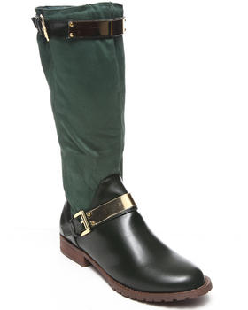 Fashion Lab - Jodie Vegan Leather Faux Suede Riding Boot w/ Buckle