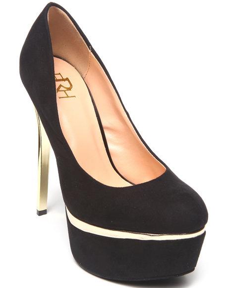 Fashion Lab - Women Black Hannah Platform Pump W/ Gold Accent