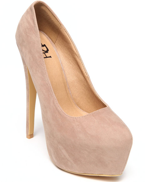 Fashion Lab - Women Beige Allison Platform Pump W/ Wrap Heel