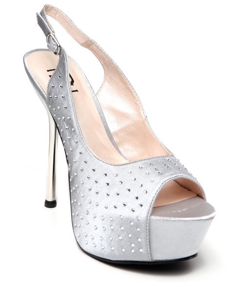 Fashion Lab - Women Silver Alex Peep Toe Platform W/ Ombre Heel
