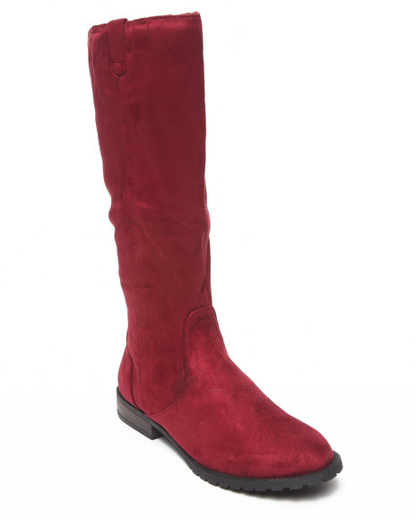 Fashion Lab - Women Maroon Rick Faux Suede Riding Boot