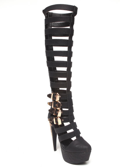 Privileged Black Revolt Caged Tall Platform Boot
