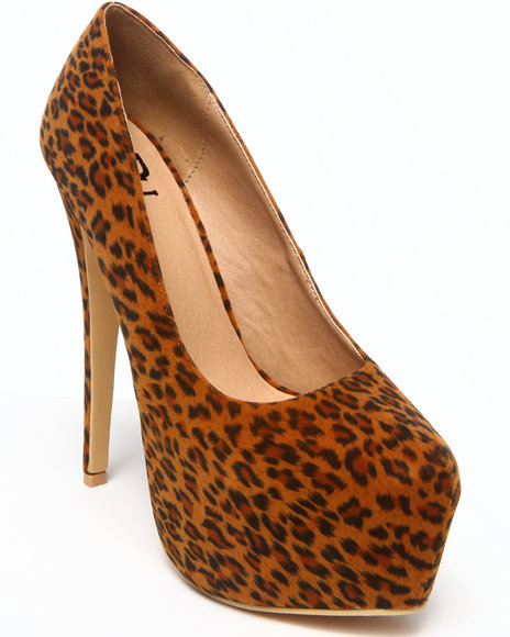 Fashion Lab - Women Animal Print,Brown Allison Platform Pump W/ Wrap Heel